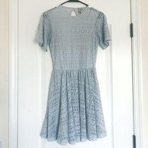 Soft Blue Lace Dress With Keyhole Back